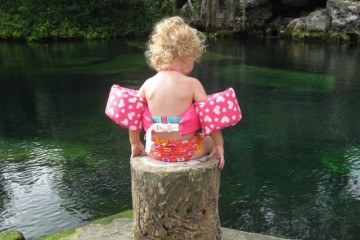 Contemplating a Plunge in Cenote Crystalline, Playa del Carmen