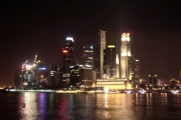 Downtown and Marina Bay at night, Singapore