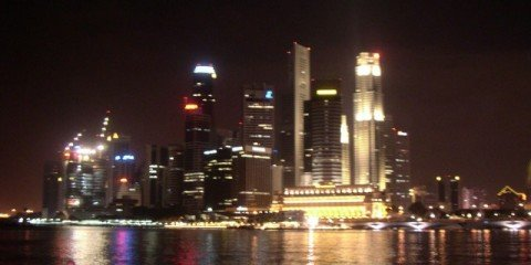 Downtown and Marina Bay at night, Singapore