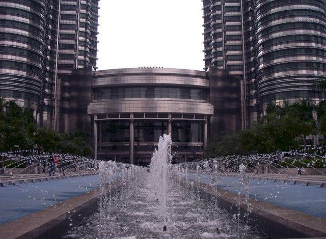 Fountains in front of the Petronas Towers, Kuala Lumpur, Malaysia