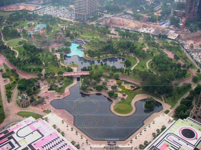 View of KLCC Park from Petronas Towers Skybridge, Kuala Lumpur