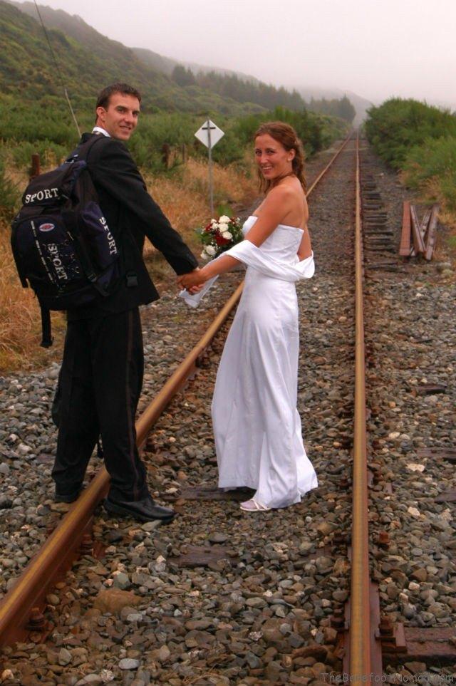 Getting Married in New Zealand Kapitea Railroad Tracks