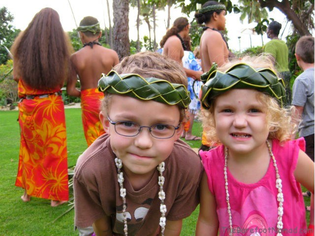 Happy at the Hale Koa Luau in Oahu