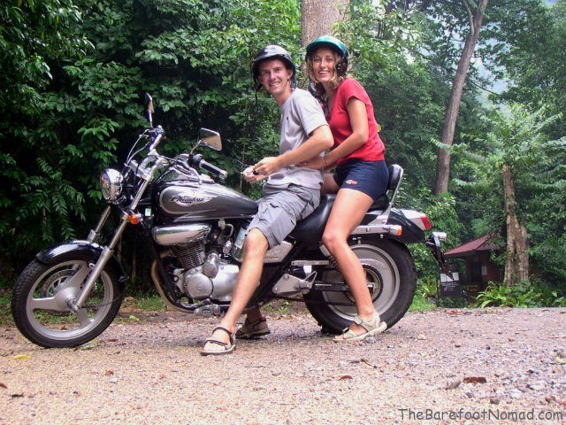 Micki and Charles on Motorbike in Thailand