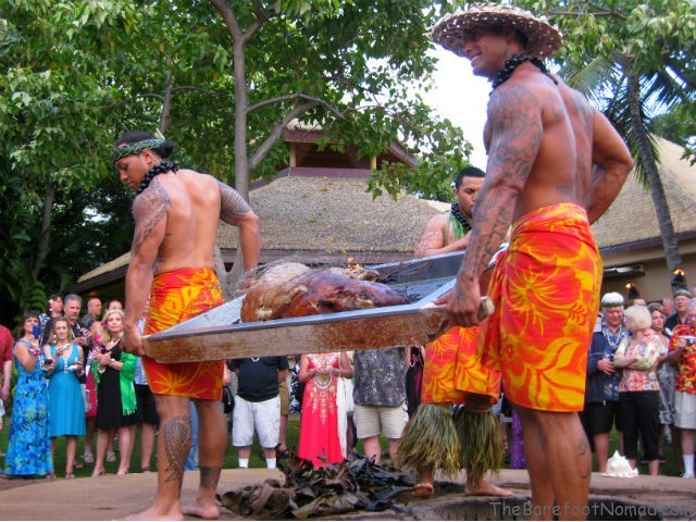 Removing the Roast Pig from the Imu Hale Koa Luau Waikiki Oahu Hawaii 640