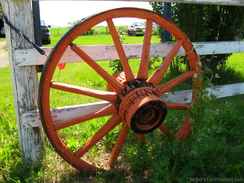 Wagon Wheel on Fence Central Alberta Farm