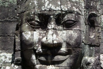 Grey Enegmatic Face at Cambodias Angkor Wat Temple Complex