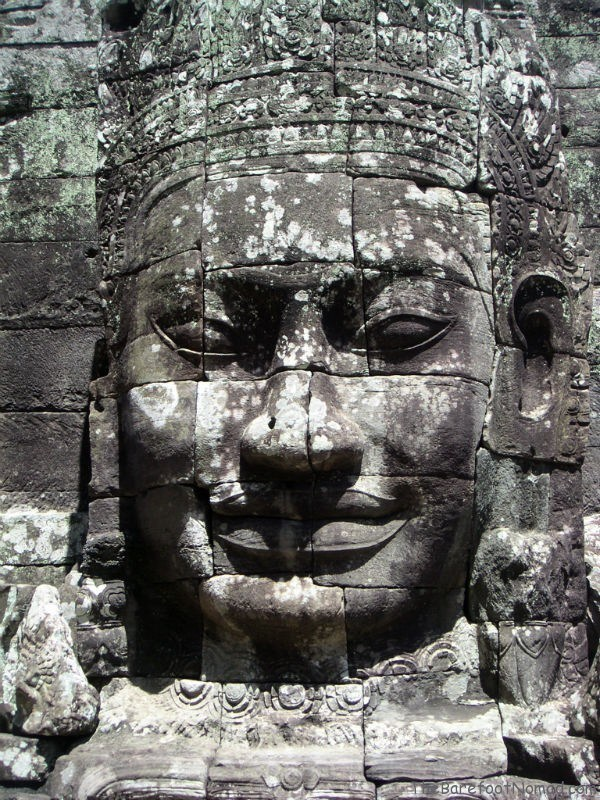Grey Enigmatic Face at Angkor Thom Temple in Cambodia