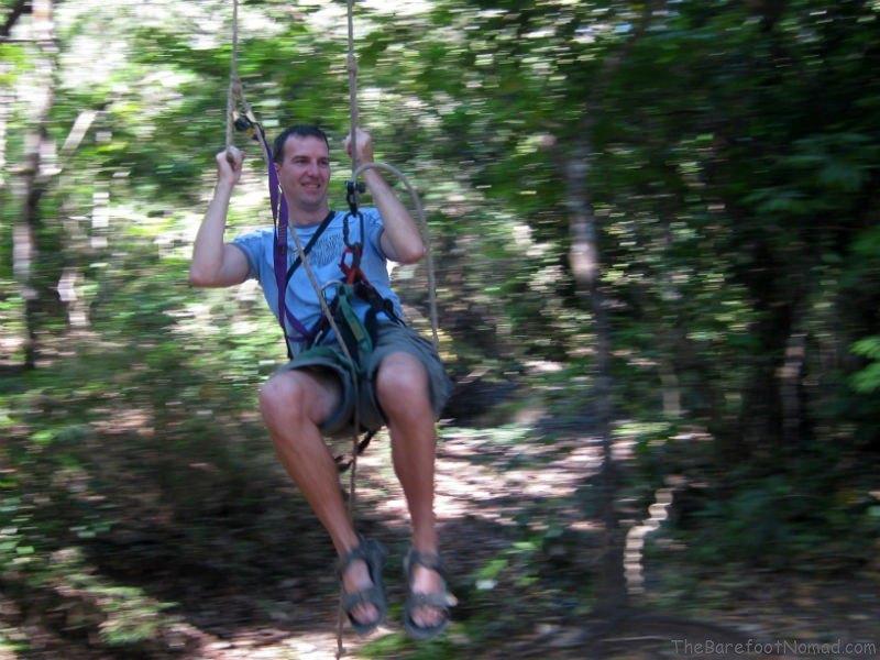 Charles Kosman ziplining in Costa Rica 2011