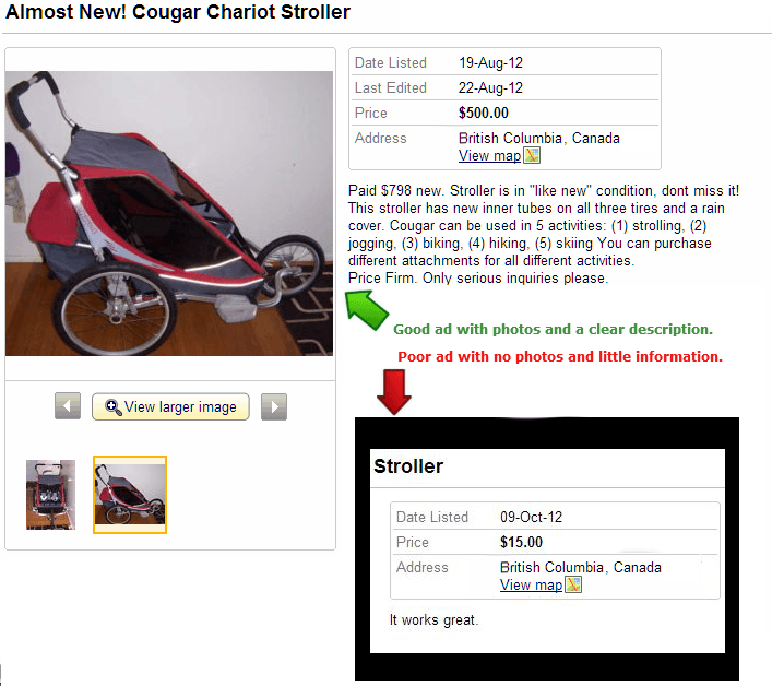 Good and Bad Ad Comparison Kijiji and Craigslist