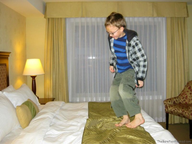 Jumping on Bed at the Delta Sun Peaks