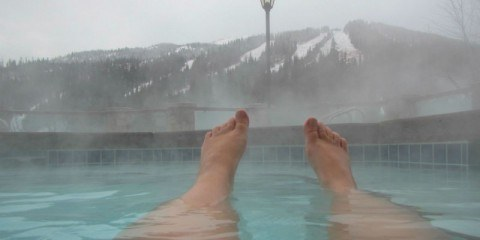 Relaxing the Hot Pool at the Delta Residences at Sun Peaks