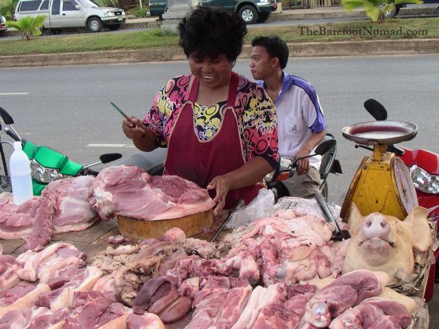 Krabi Thailand Street Market Pig
