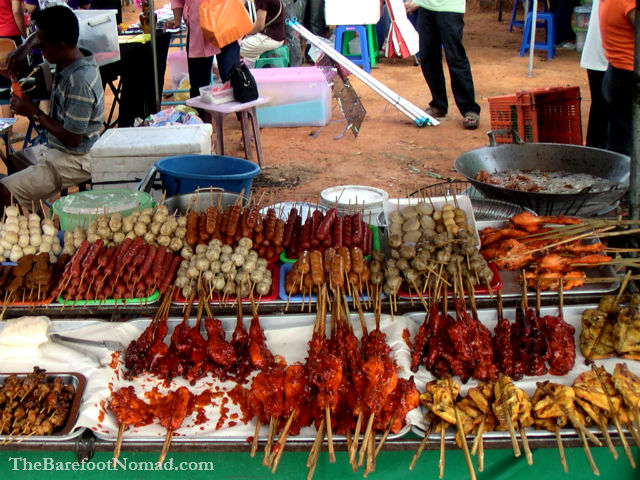 Meat On A Stick Street Market Krabi Thailand