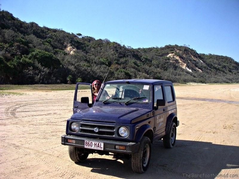 Rented 4x4 on Fraser Island Australia