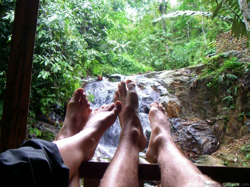 Feet up on our balcony Bukit Lawang waterfall