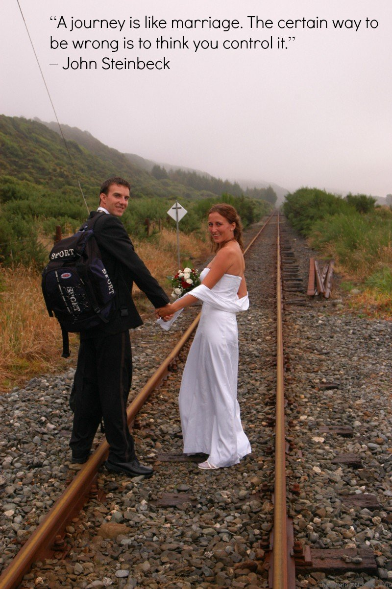 Wedding Train Tracks Steinbeck Travel Quote Inspiration