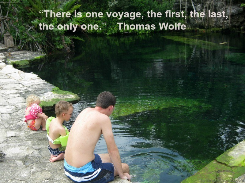 Wolfe Dangling Toes in Cenote Travel Quote Inspiration