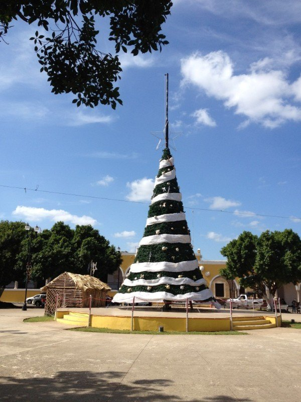 Christmas tree in Central Park in Izamal, Mexico