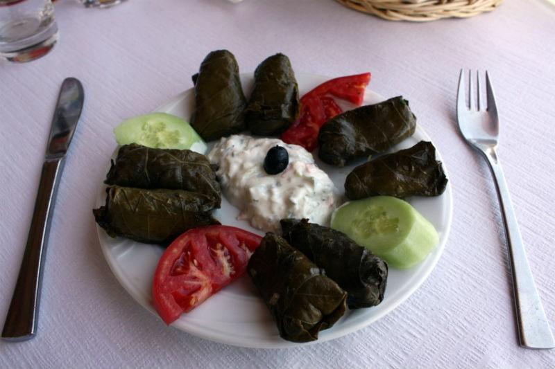 Dolmades and Greek yogurt
