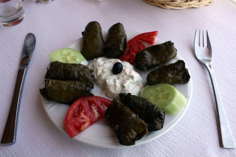 Dolmades and Greek yogurt