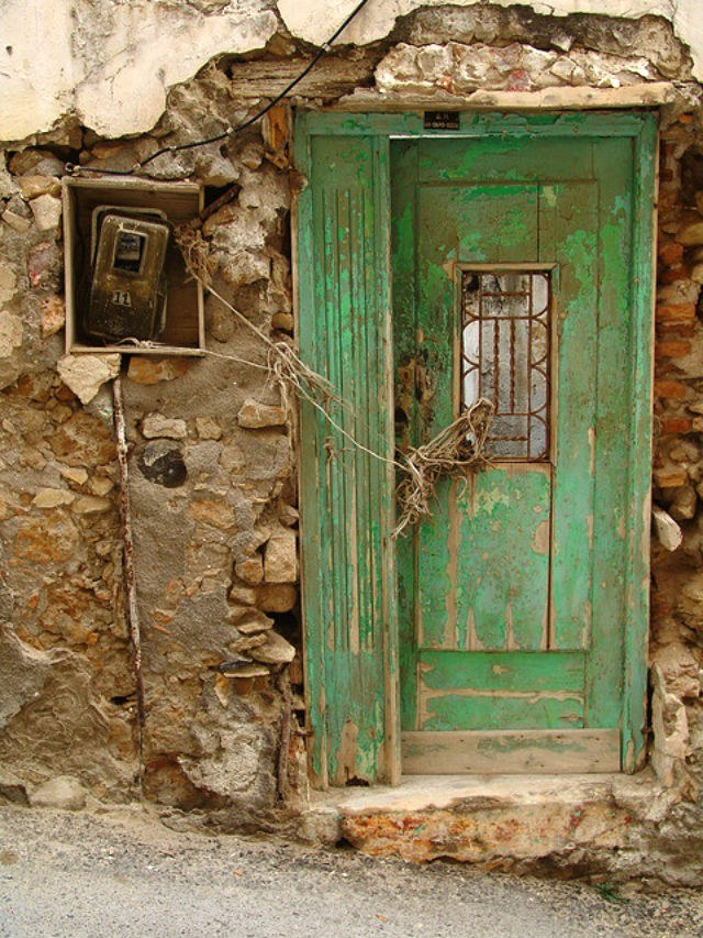 Old green door in Heraklion Crete