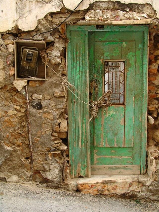 Old green door in Heraklion Crete
