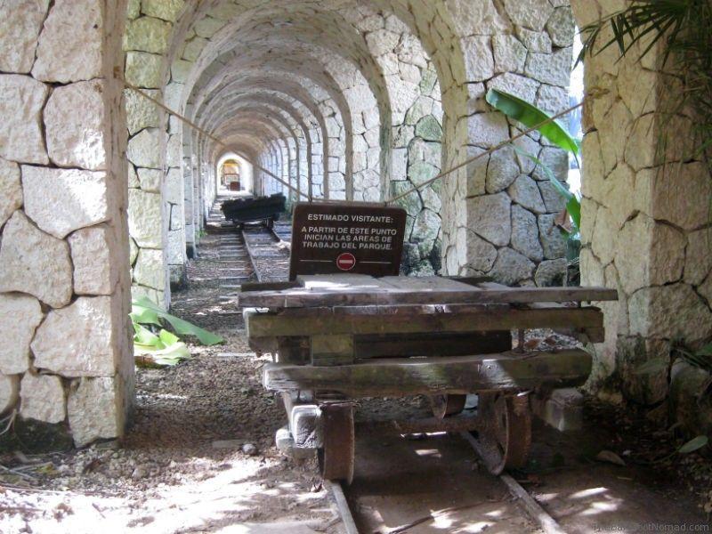 Henequen cart and rails at the hacienda Xcaret