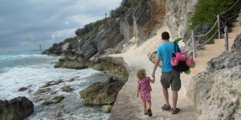 Charles Kosman and Jordan walking the paths near Ixchel