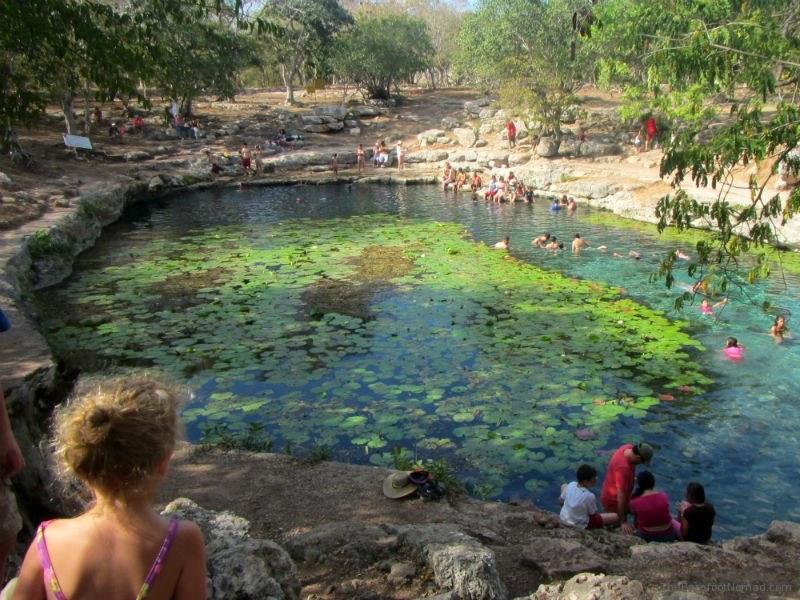 Contemplating a plunge in the cenote Dzibilchaltun