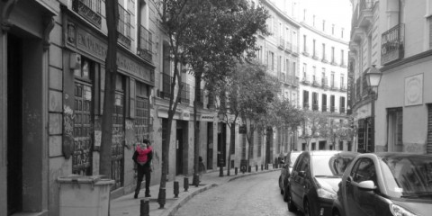 piggyback on the streets of Madrid