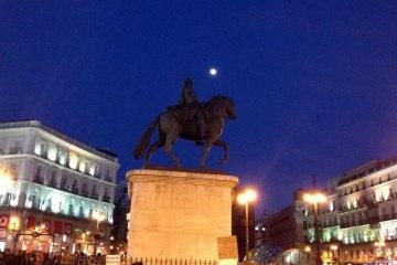 Moon over Plaza del Sol Madrid
