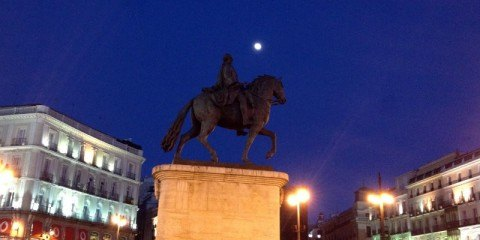 Moon over Plaza del Sol Madrid