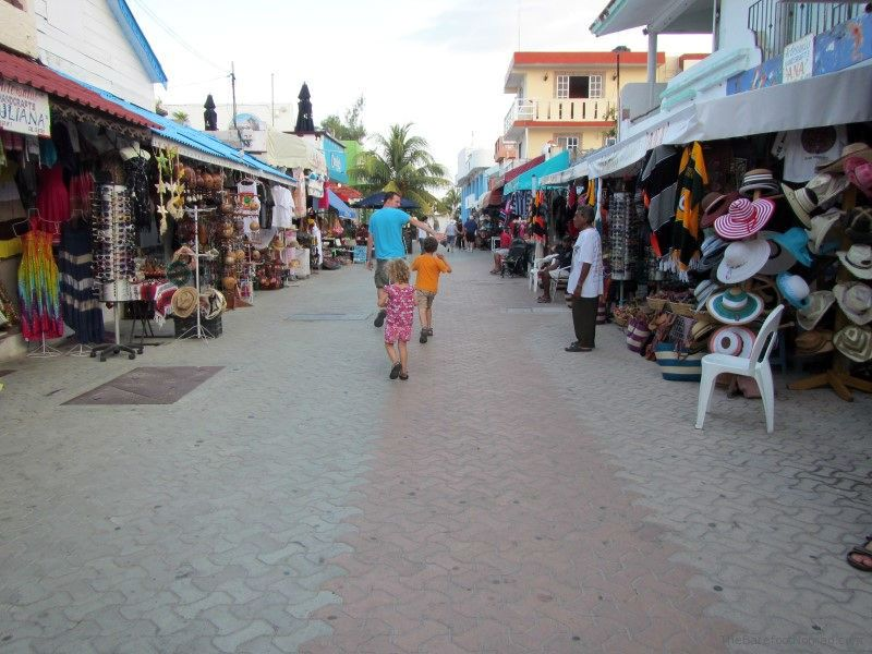 Barefoot Nomads walking on pedstrian street in Isla Mujeres