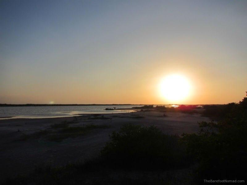 Sunset over laguna rosada mexico