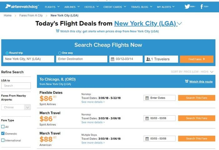 Airfare Watchdog cheap flight search 2018