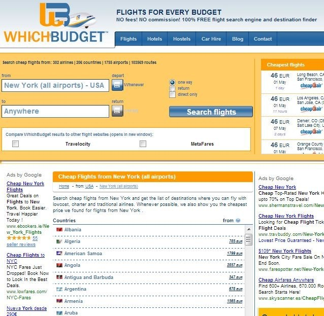 Search from New York to anywhere on Whichbudget.com