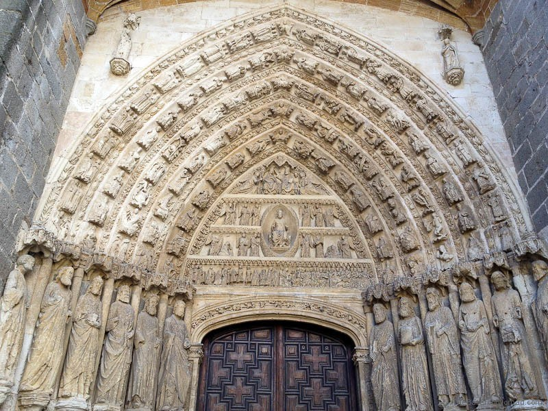 Carvings on a side door of the Cathedral of Avila, Spain