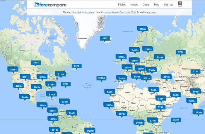 FareCompare Map Search 2018