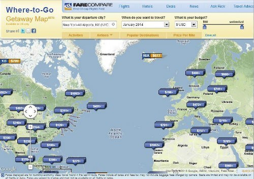 Search for flights from New York to Anywhere on Fare Compare