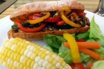 Grilled Vegetable Sandwiches with Roasted Garlic Mayo