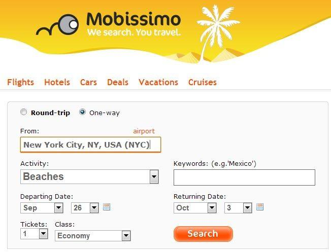 Search from New York to anywhere on Mobissimo