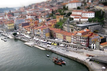 Porto's Ribeira district from the Dom Luis Bridge Portugal