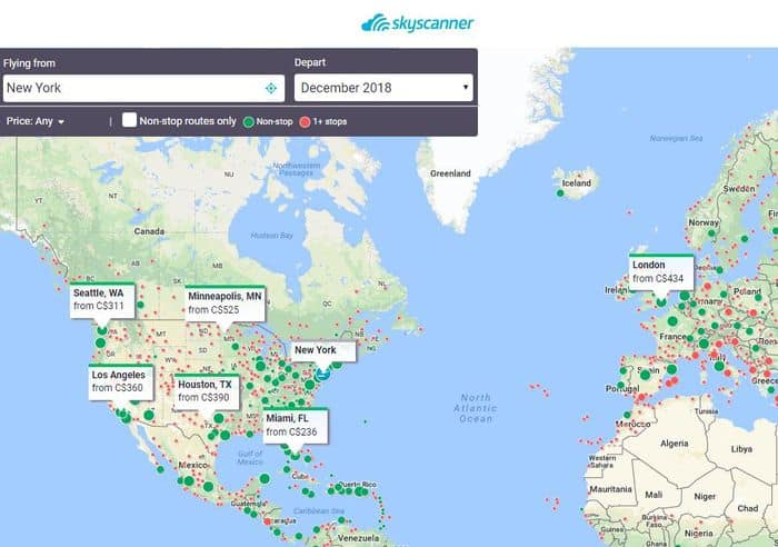 Skyscanner map explore search 2018