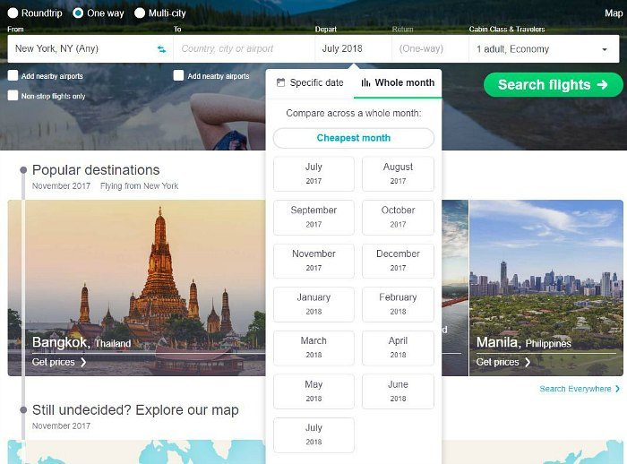 Skyscanner monthly search