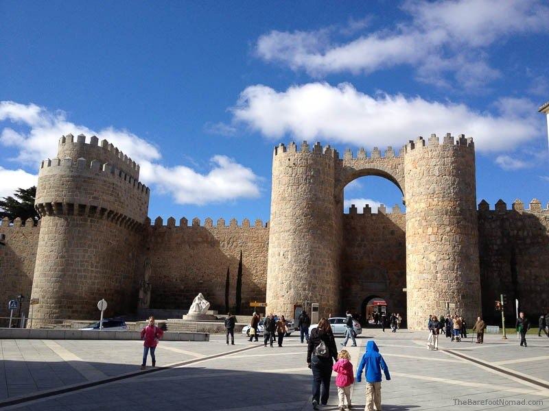 Walking to the Puerta del Alcazarr gate, Avila, Spain