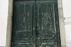 Weathered door in Central Porto Oporto Portugal