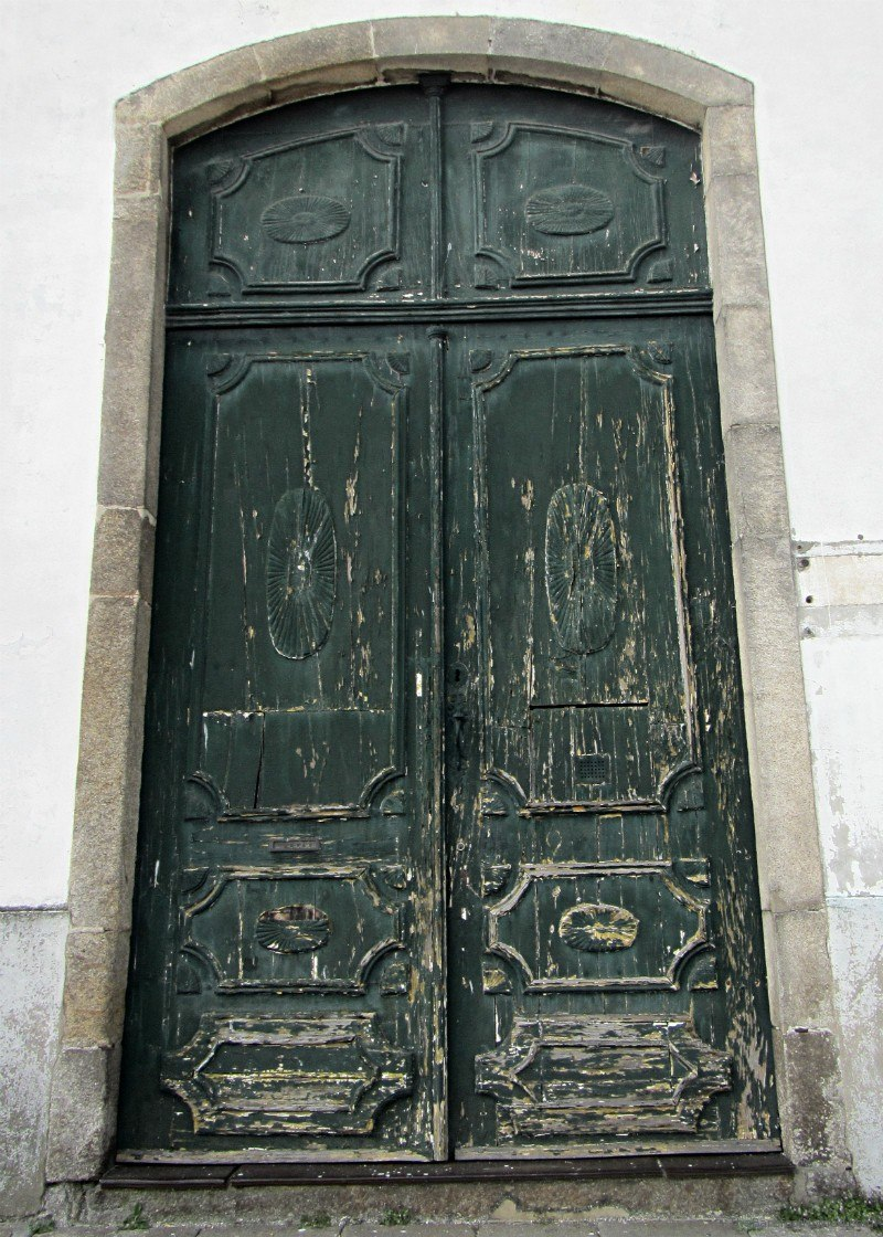 Weathered door in Central Porto Oporto Portugal