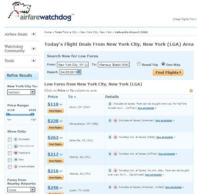 Search for flights to any destination from New York on Airfarewatchdog.com