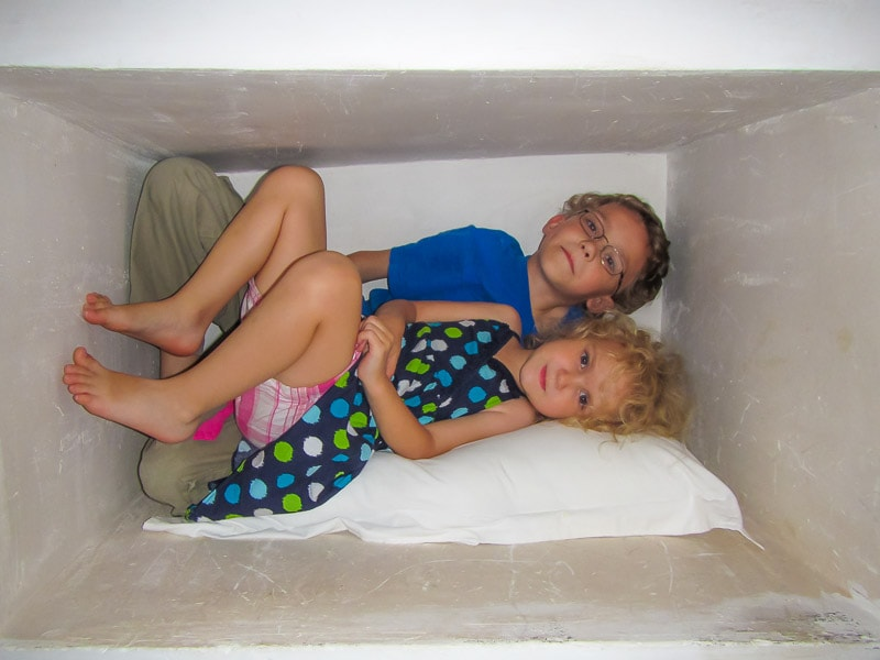 Kids having fun in a cubby at Riad Ourika Morocco Marrakech